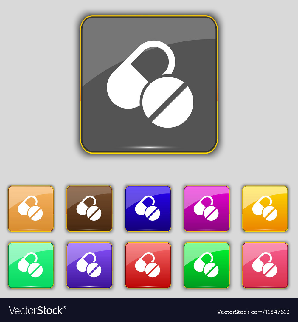 Medical pill icon sign Set with eleven colored