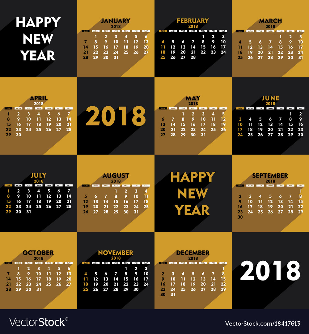 New year 2018 calendar design