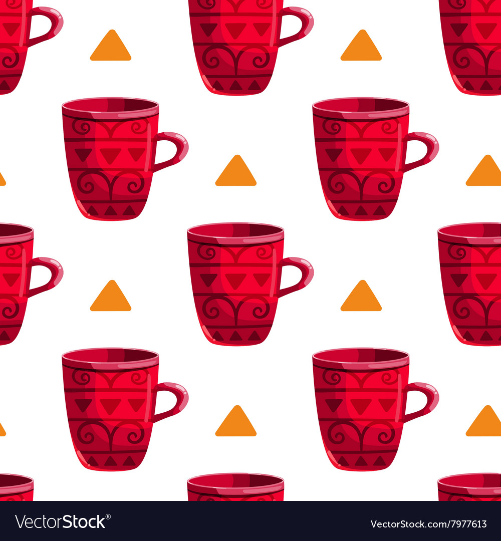 Seamless pattern with cartoon mugs-5 vector image