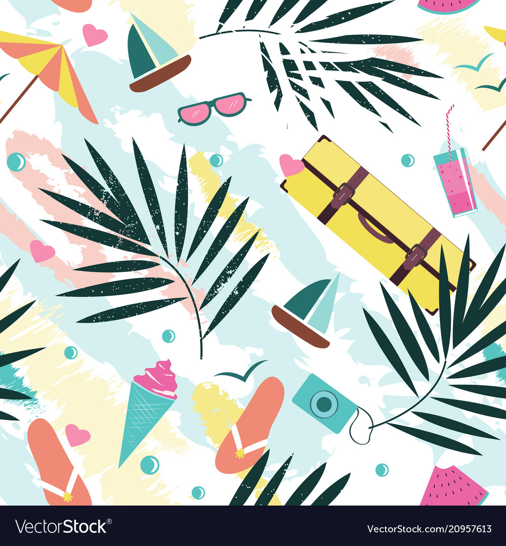 Summer time seamless pattern with colorful beach