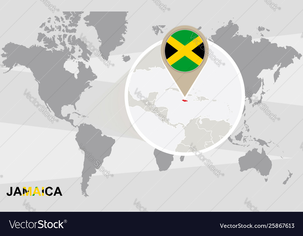 World map with magnified jamaica