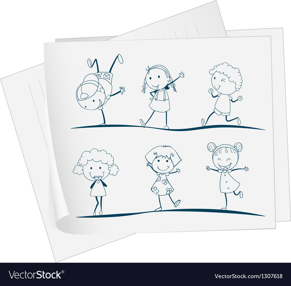 A paper with a drawing of kids dancing Royalty Free Vector