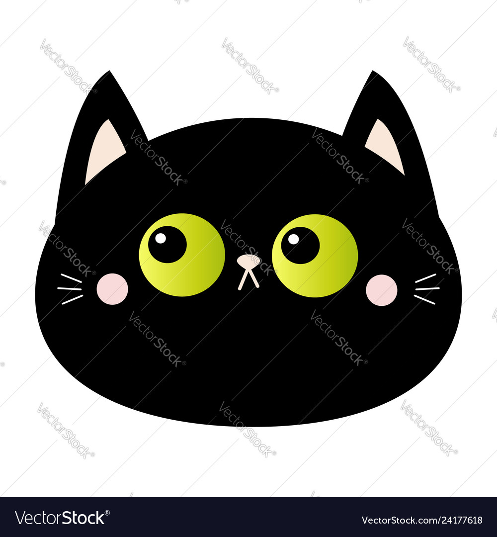 Black cat round head face icon green eyes pink