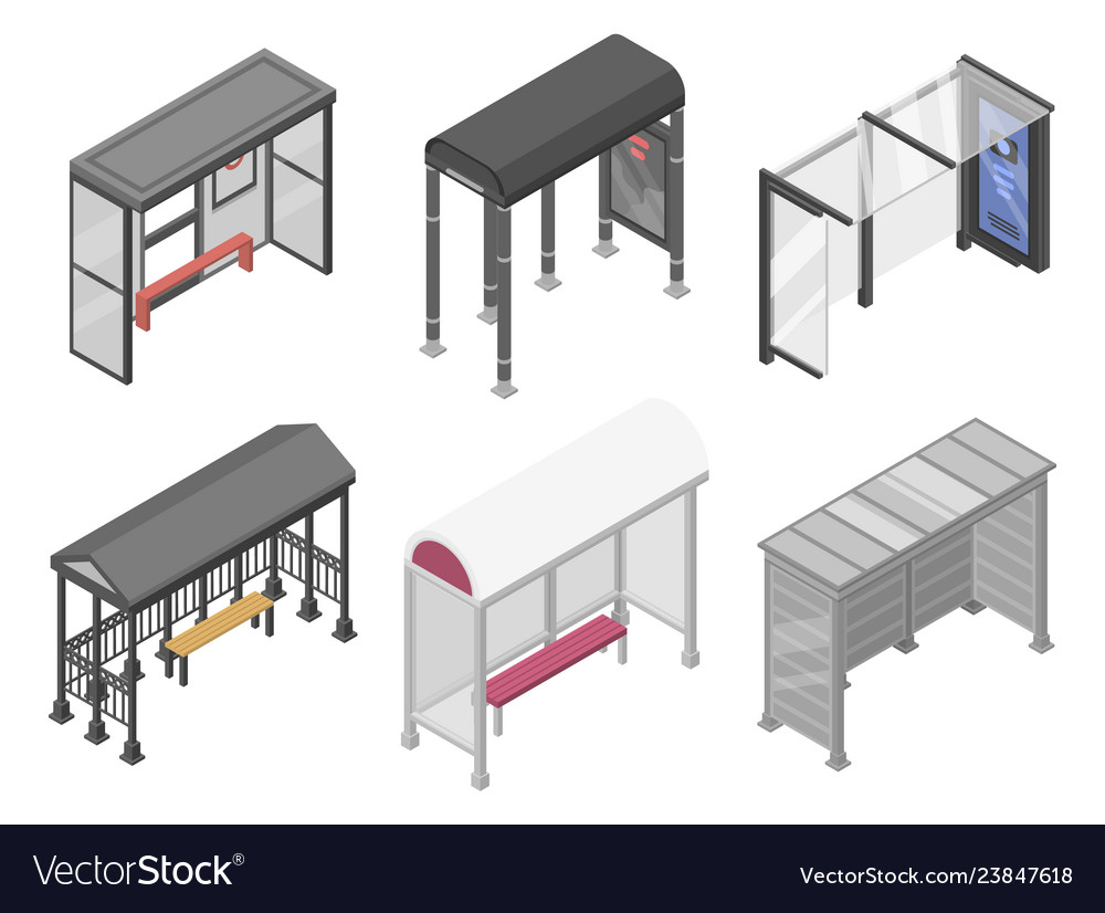 Bus stop icons set isometric style