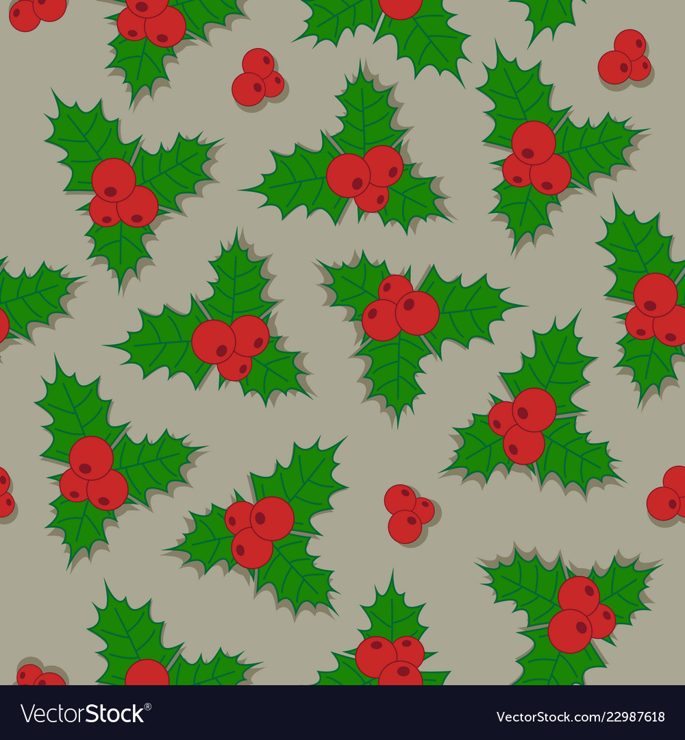 Christmas background holly berry with green