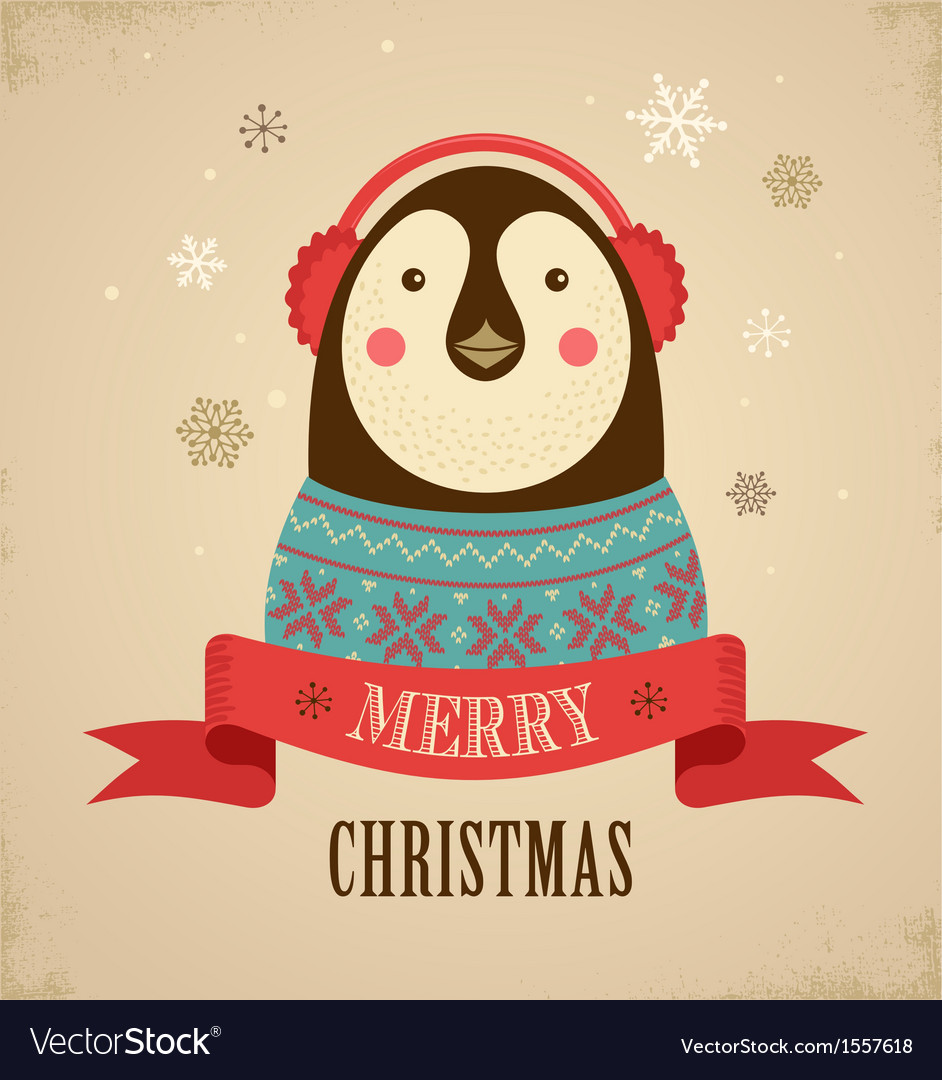 Christmas Background With Hipster Penguin Vector Image