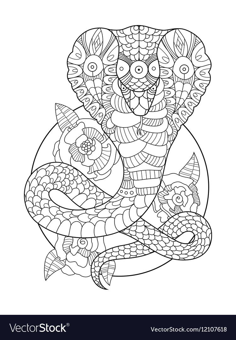 Cobra snake coloring book for adults Royalty Free Vector