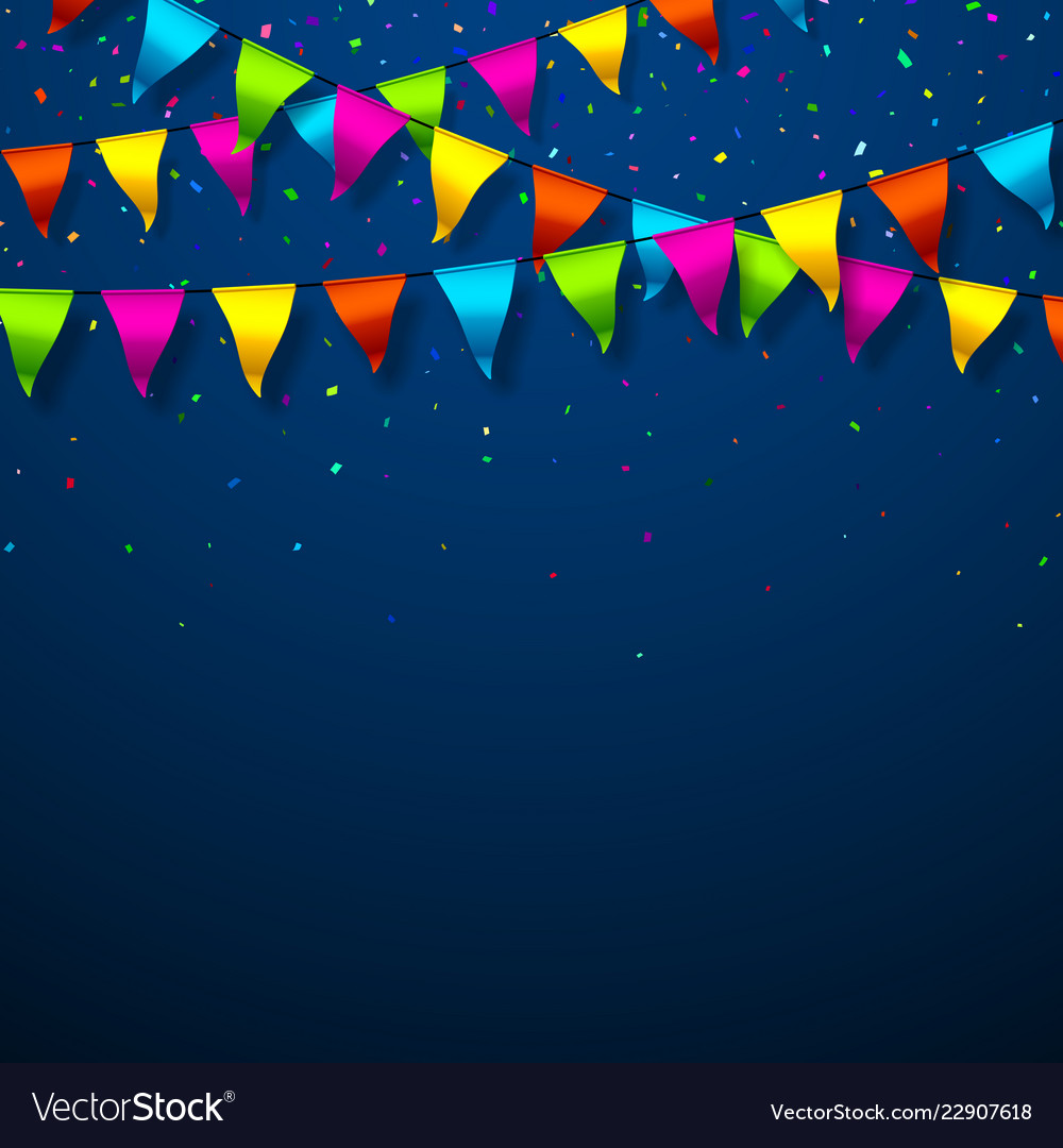 Colorful bunting flags with confetti festive