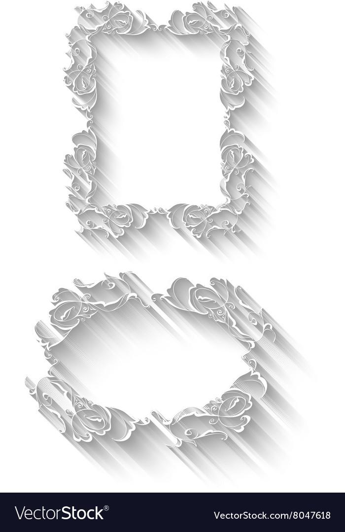 Elegant paper retro floral frame set Hand drawn