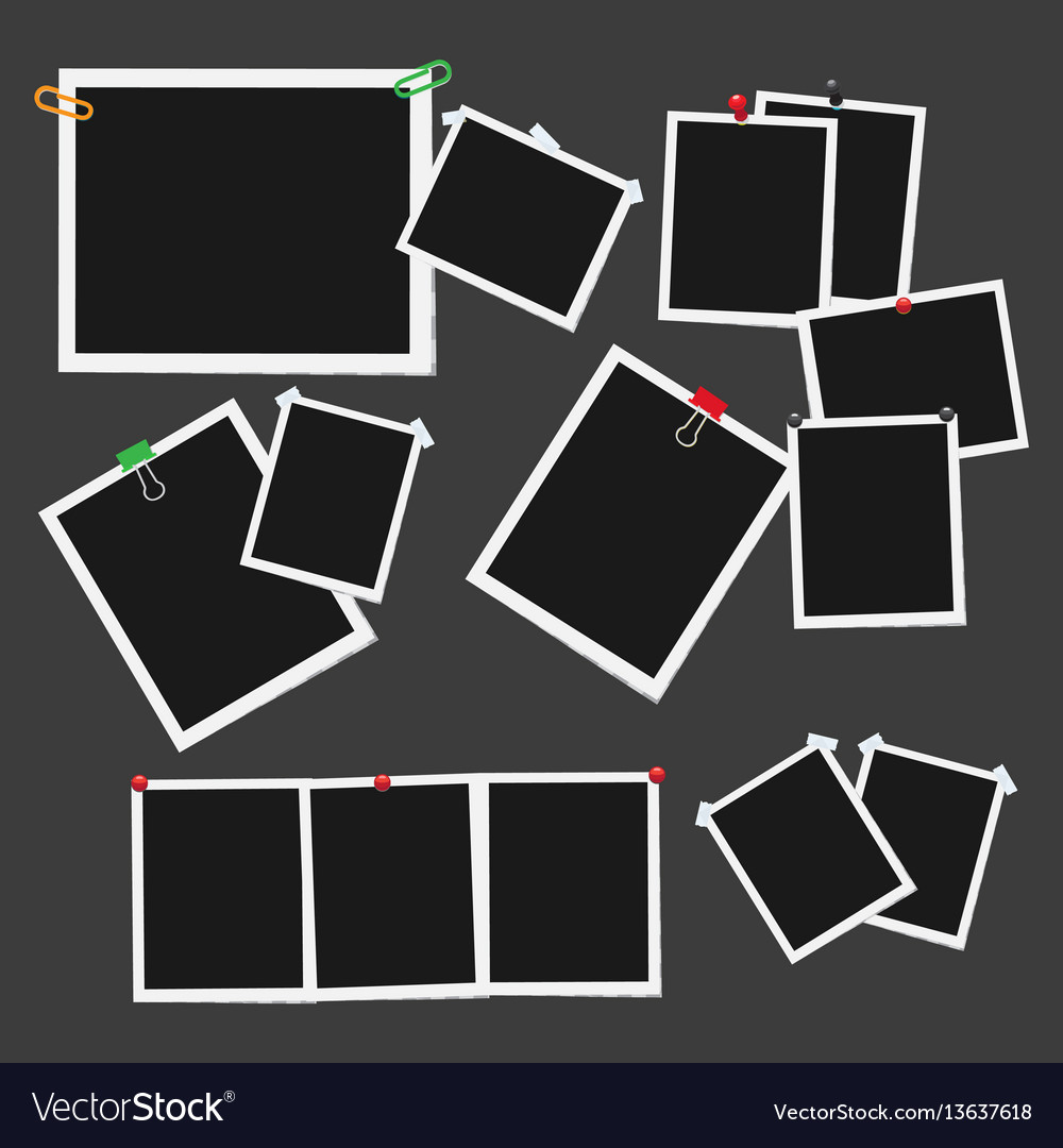 Empty photo frames attached with pins set vector image