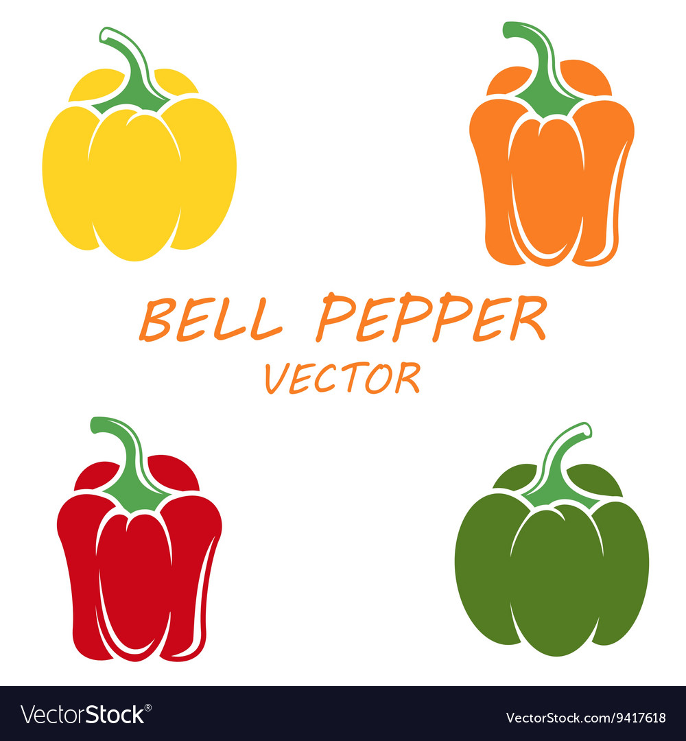 Flat bell peppers icons set