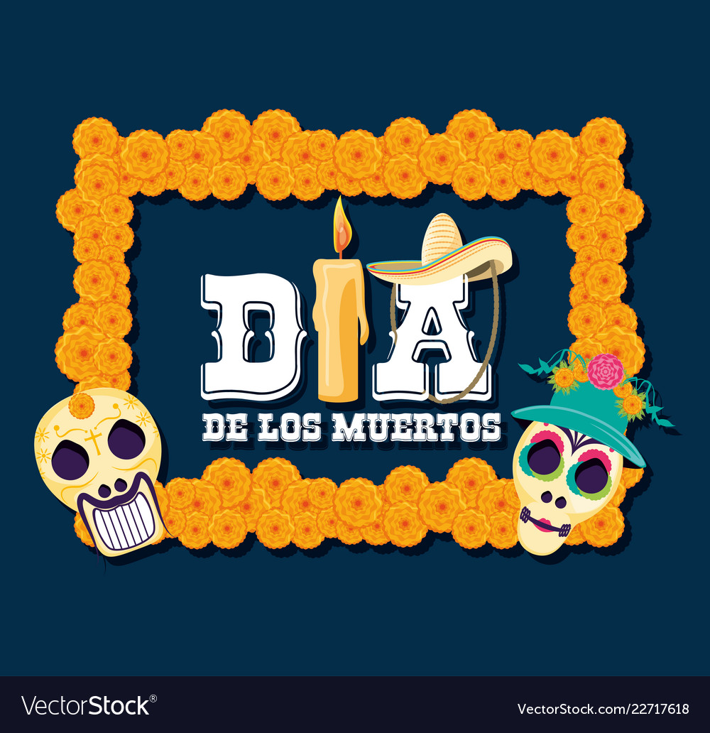 Frame With Masks Of Santa Death Royalty Free Vector Image