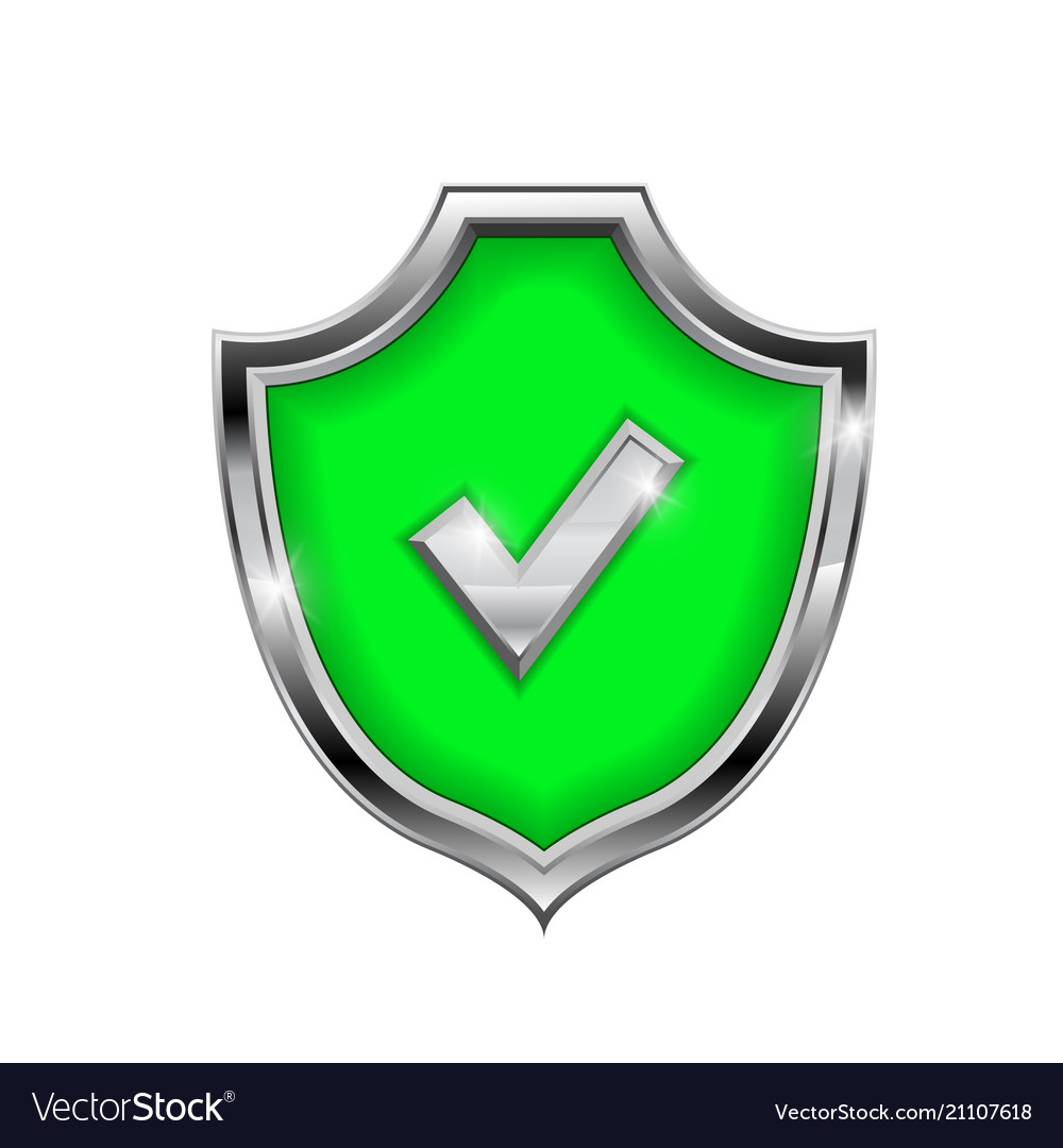 Green shield sign accept 3d symbol isolated on