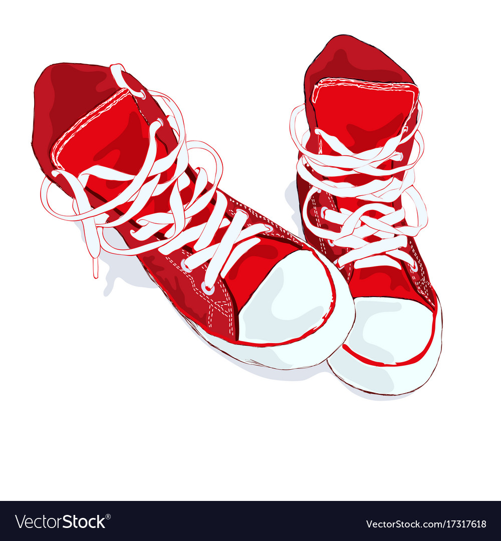 Red sneakers on white background