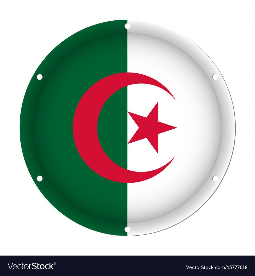 Round metallic flag of algeria with screw holes