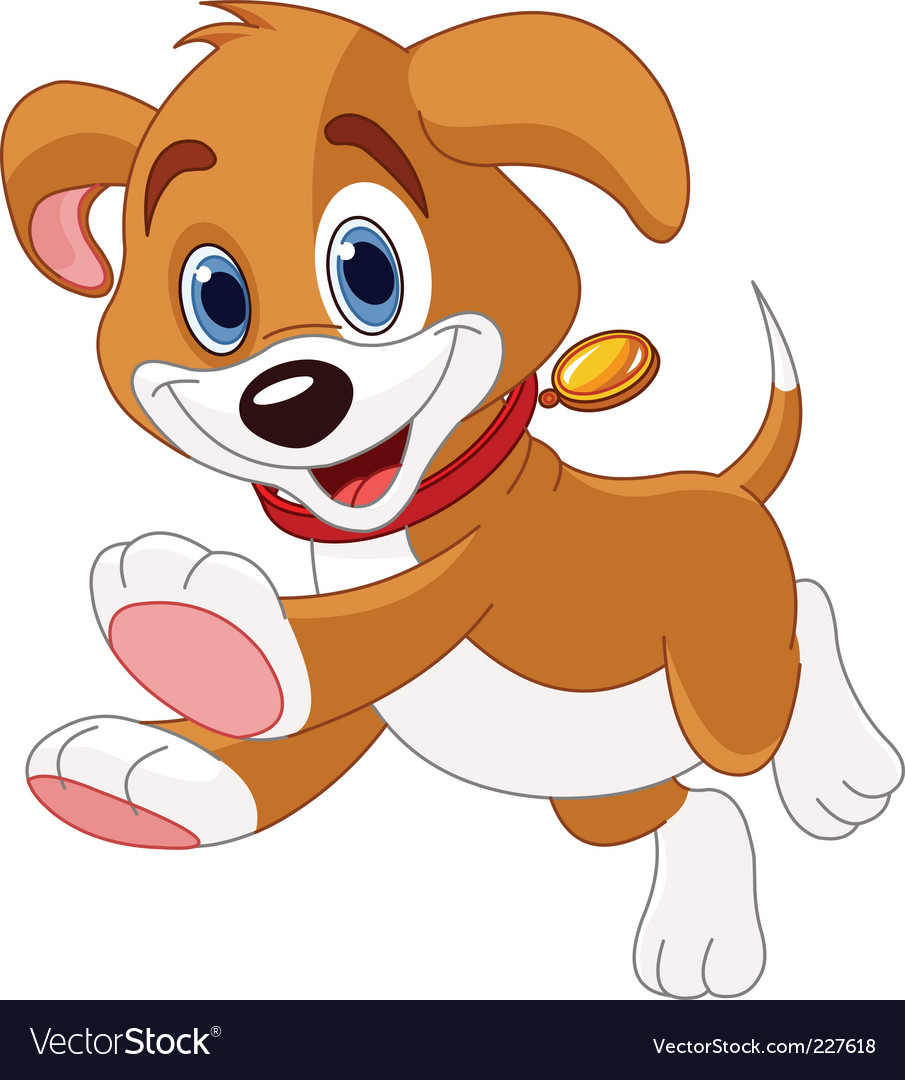 Running funny puppy vector image