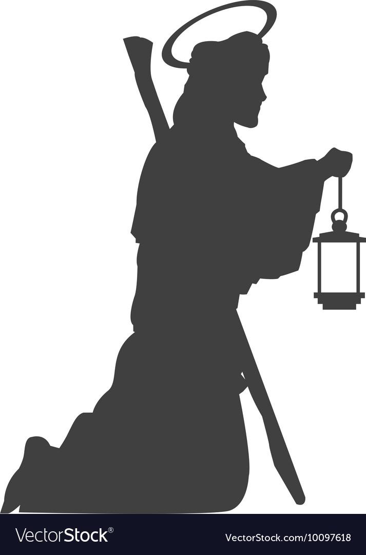 Saint joseph silhouette icon vector image