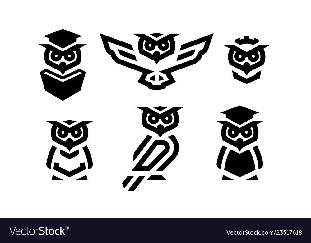 Set linear owl logo or design template