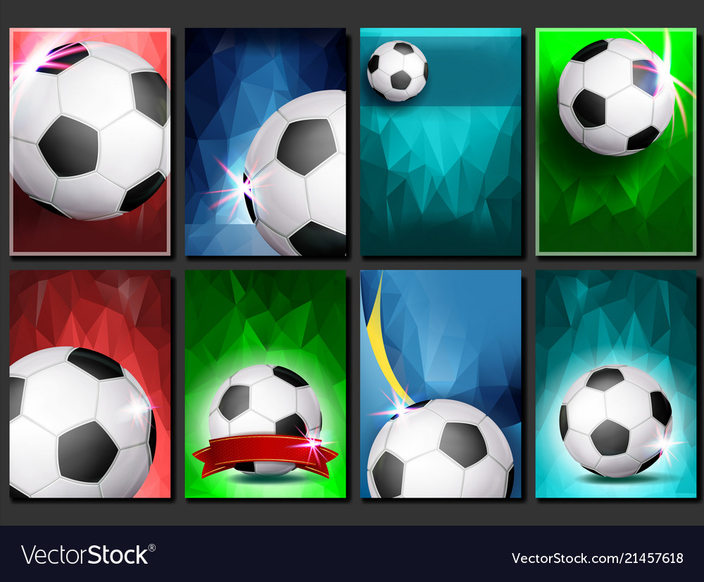 Soccer game poster set empty template for
