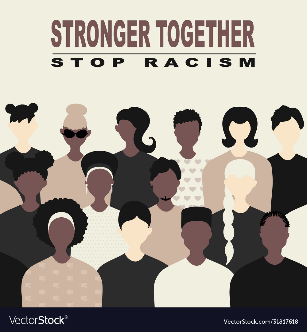 Stop racism and stronger together concept blm