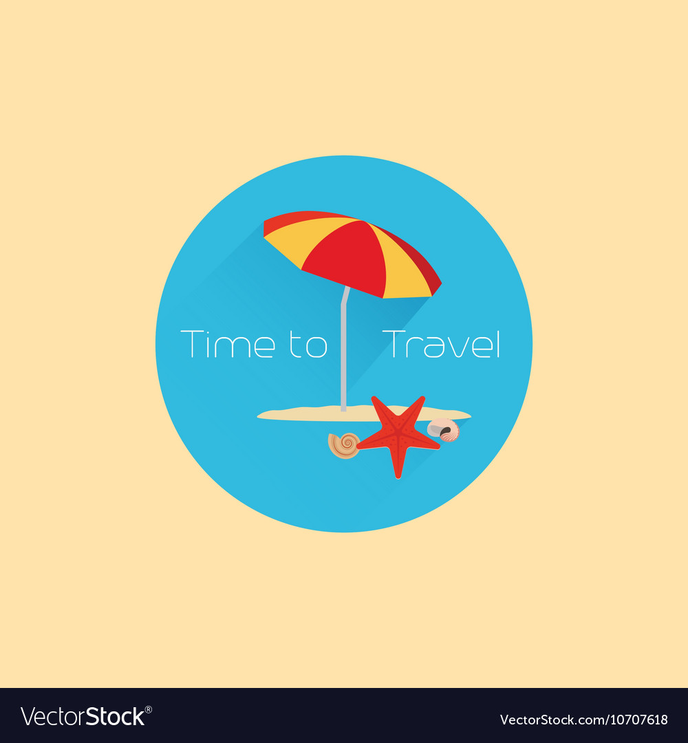 Time to travel icon with umbrella