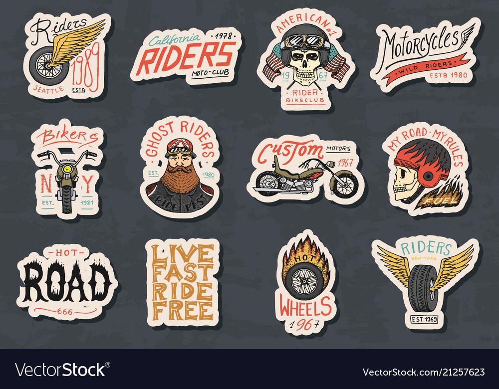 Biker club stickers templates vintage custom