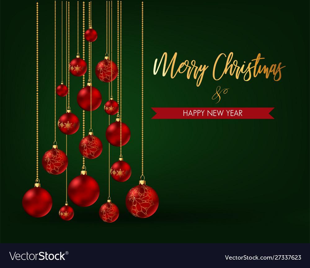 Christmas tree made christmas balls on green