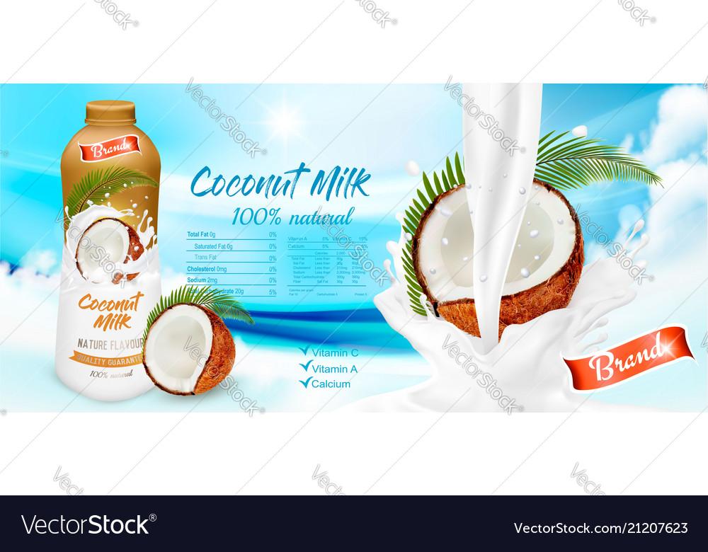 Coconut milk with splashing liquid and pieces