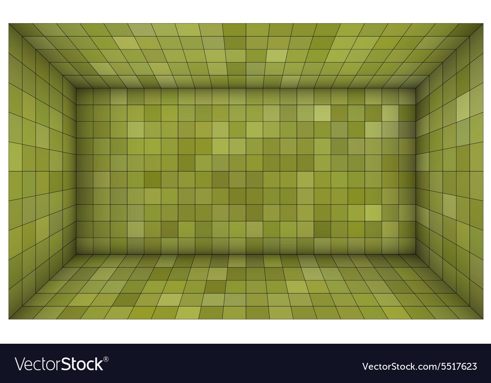 Empty futuristic room with green walls