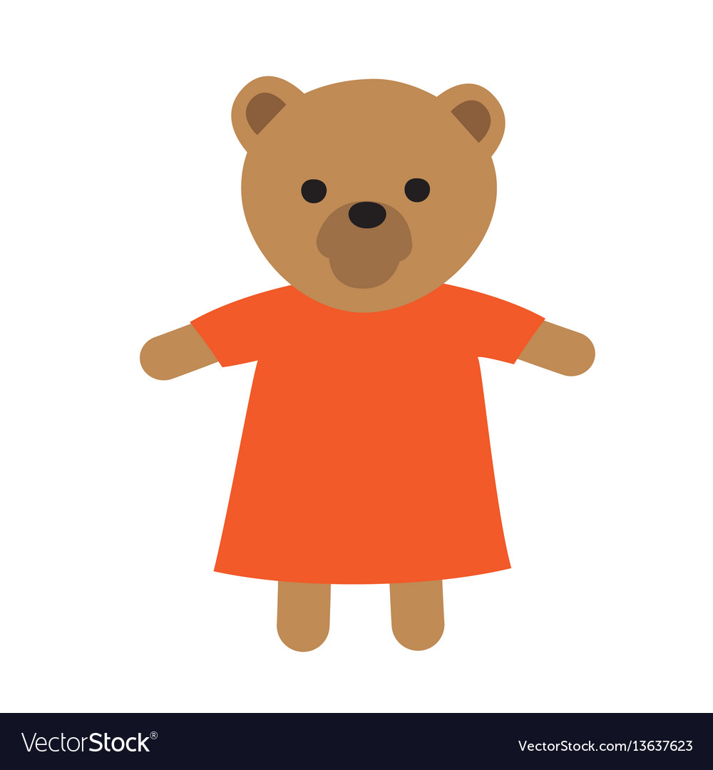 Funny toy icon of bear in dress vector image
