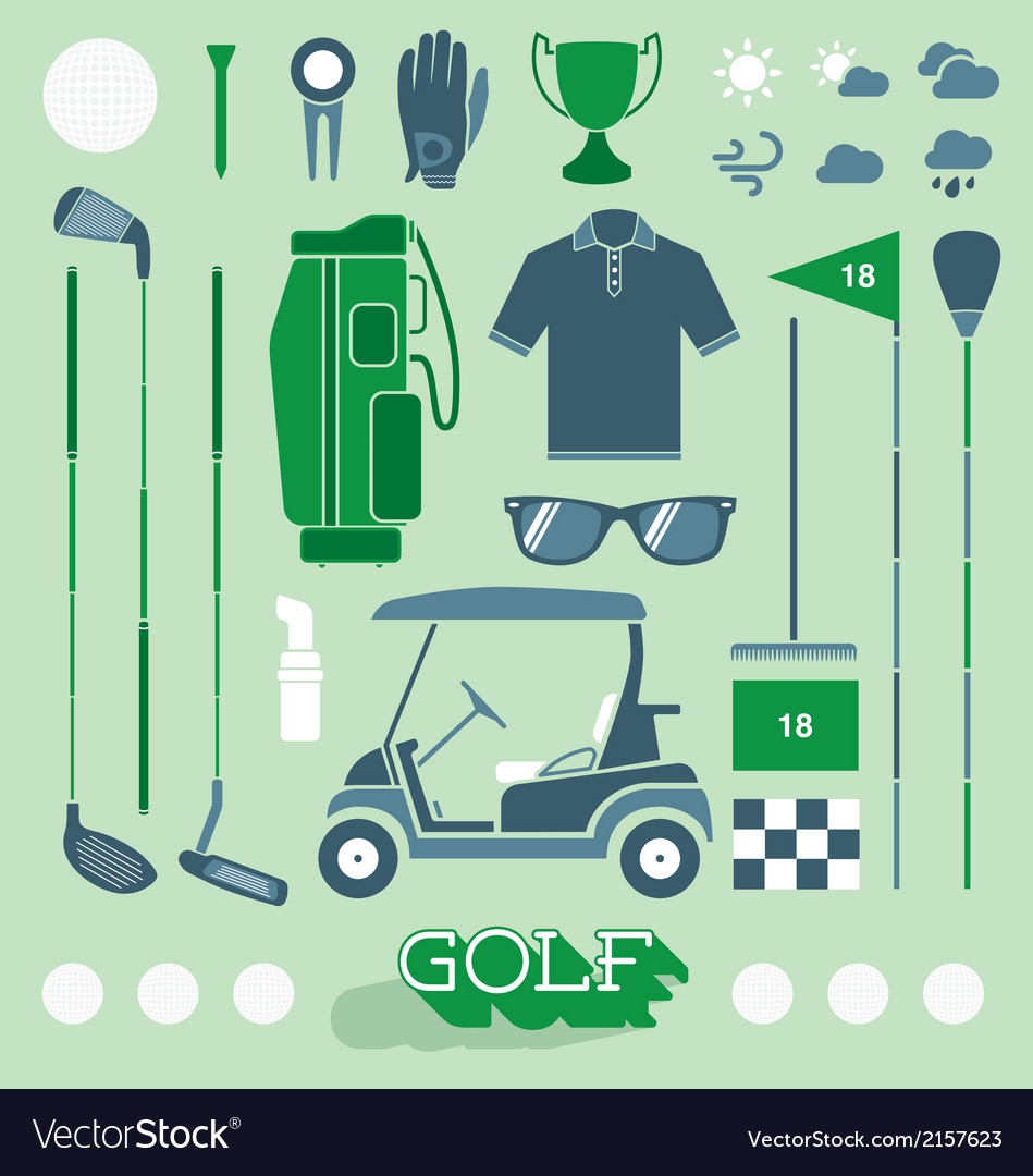 Golf Equipment Icons and Silhouettes