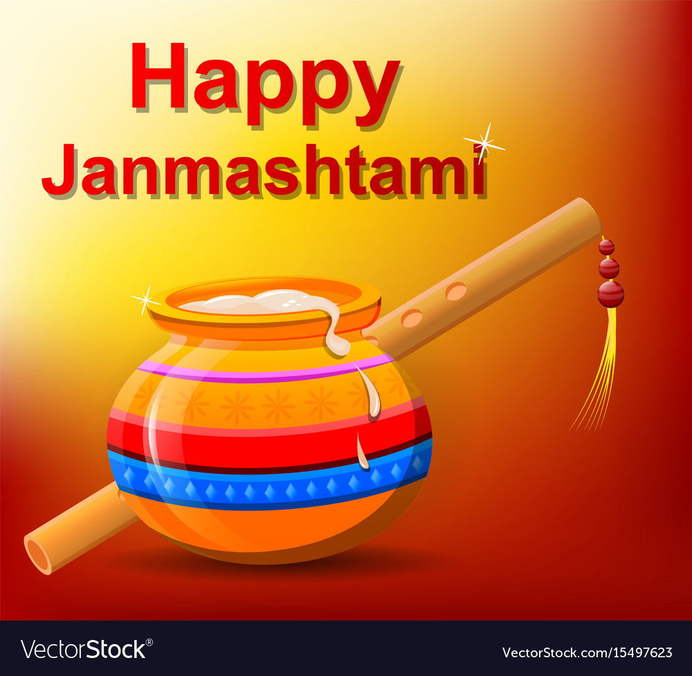 Happy krishna janmashtami pot with butter and vector image