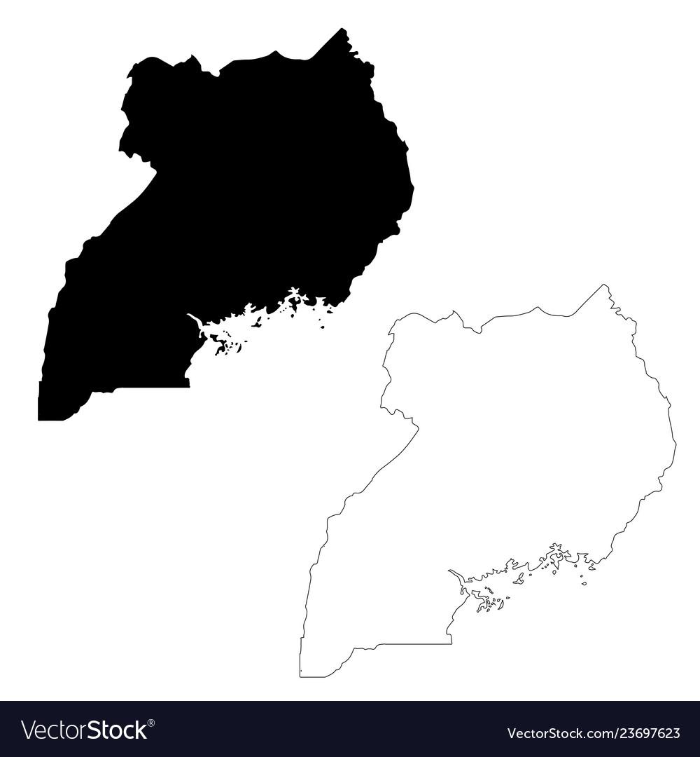 Map uganda isolated black on