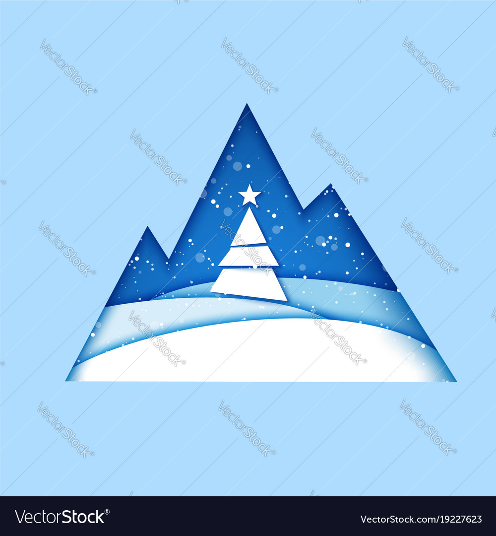 Merry christmas greeting card origami winter