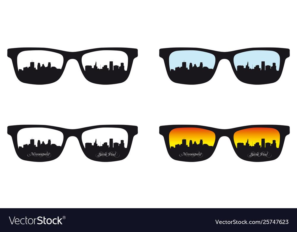 Minneapolis saint paul reflected in eyeglass lens