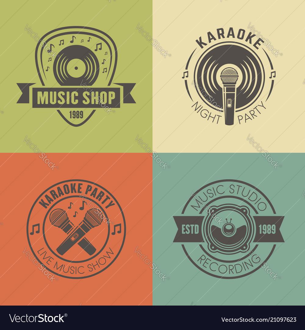 Music shop recording studio karaoke emblems
