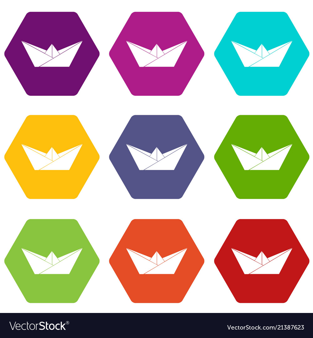 Origami boat icons set 9