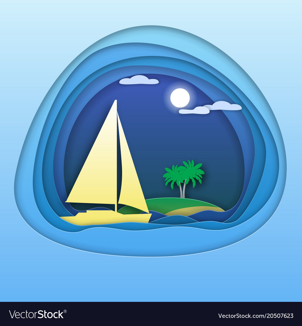 Sailing yacht at sea with palm trees on island