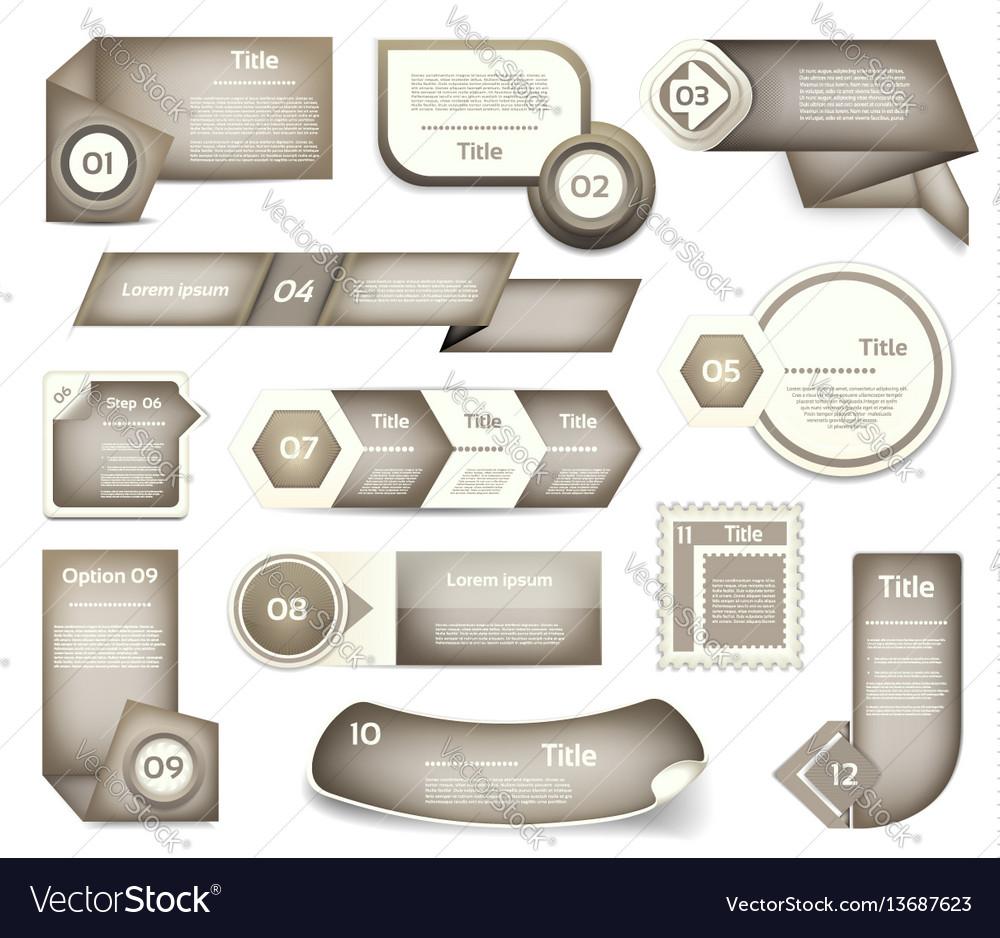 Set of grey progress version step icons vector image