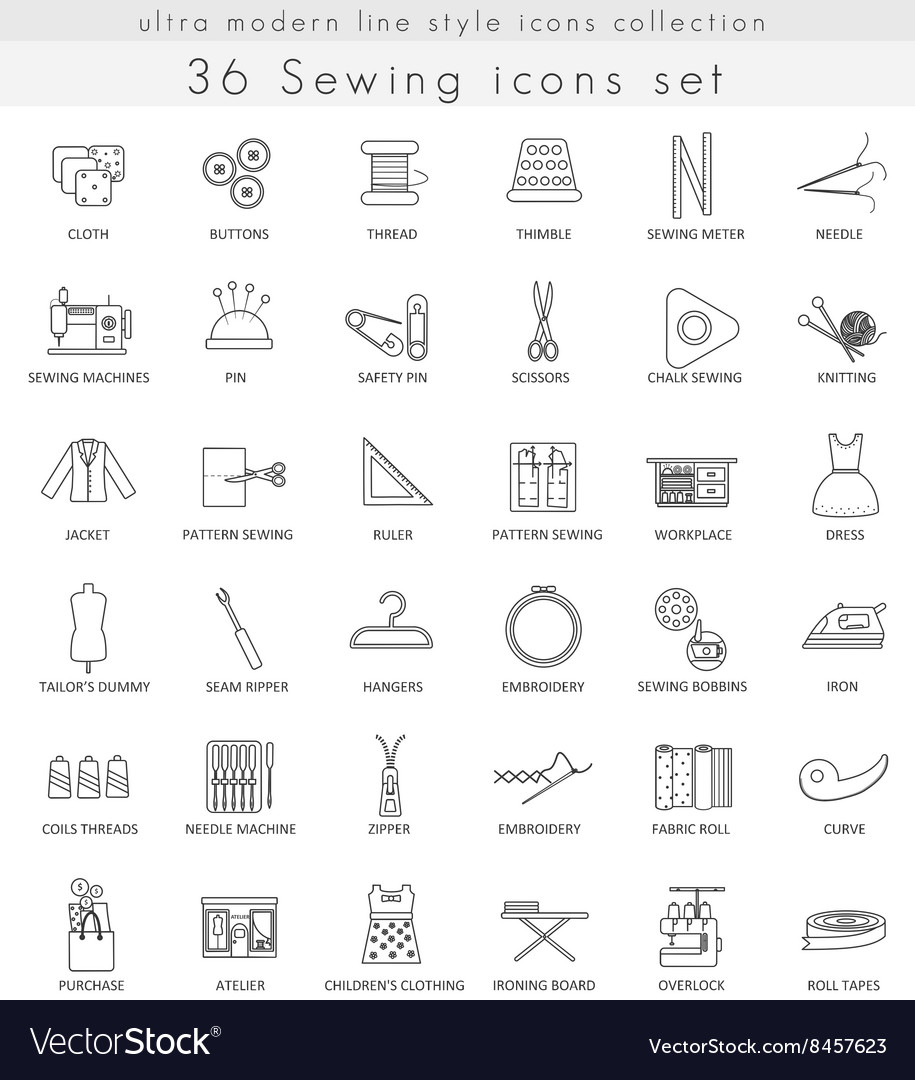 Sewing ultra modern outline line icons for