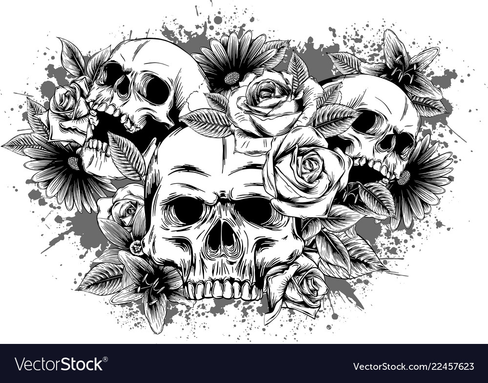 Skull with flowers with roses drawing by hand