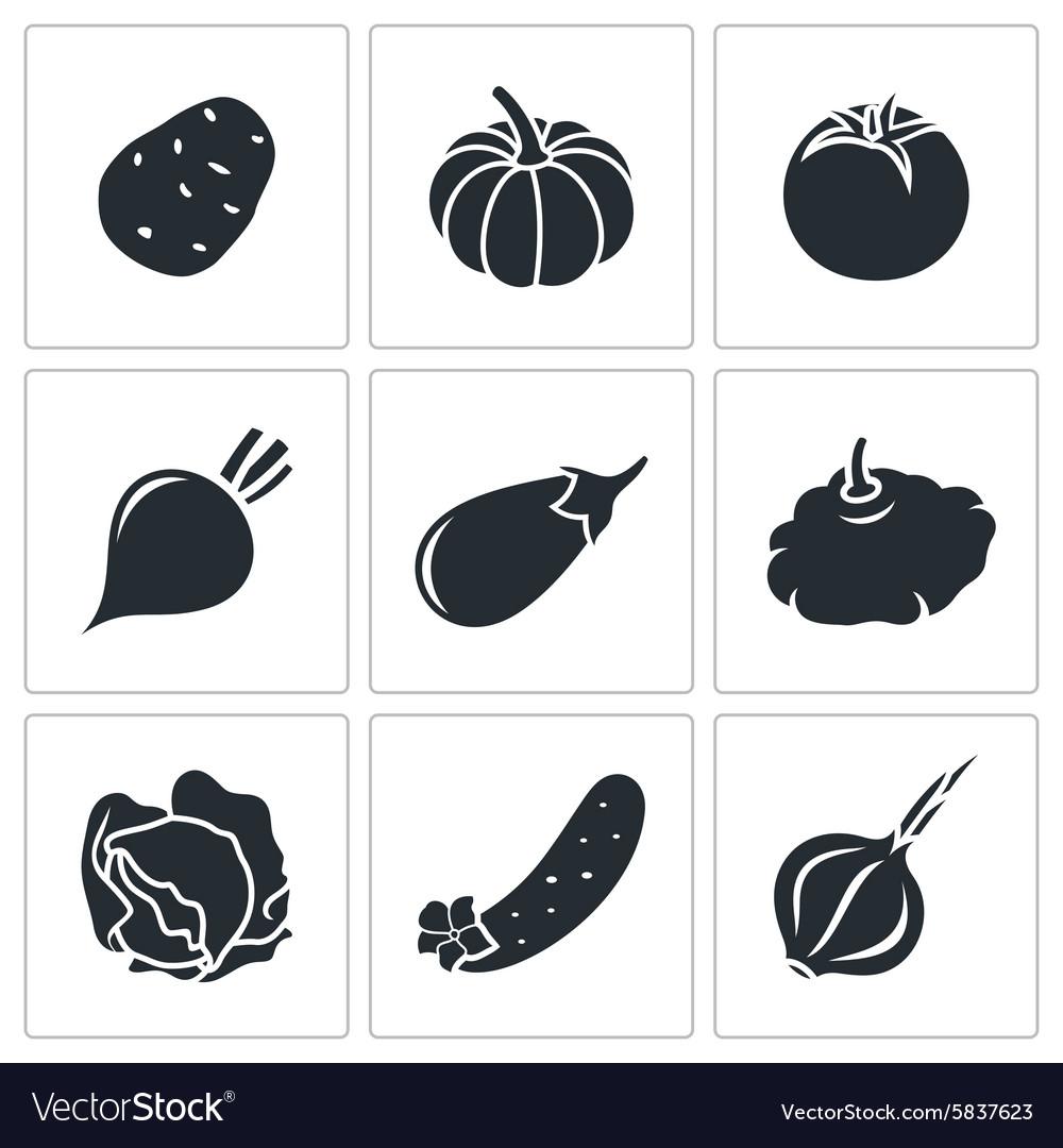 Vegetables set of nine Icons
