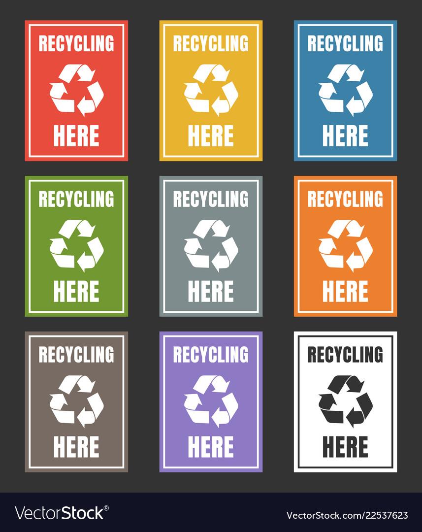 Waste sorting labels set waste managment for vector image on VectorStock