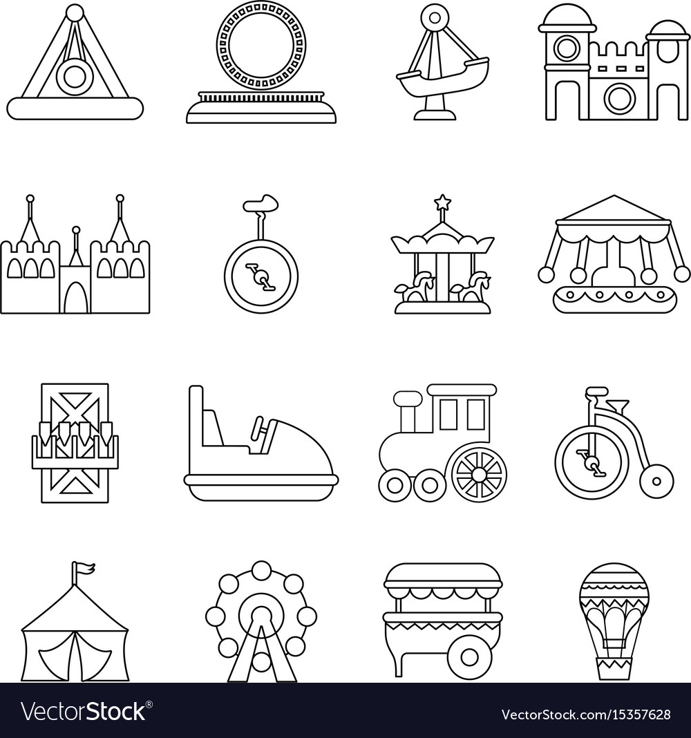 Amusement park icons set outline style