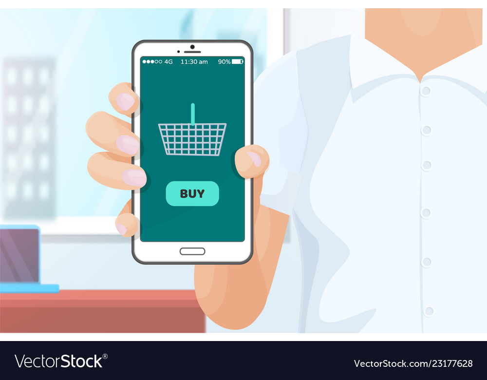 be059002b90 Buy online shopping with help of phone Royalty Free Vector