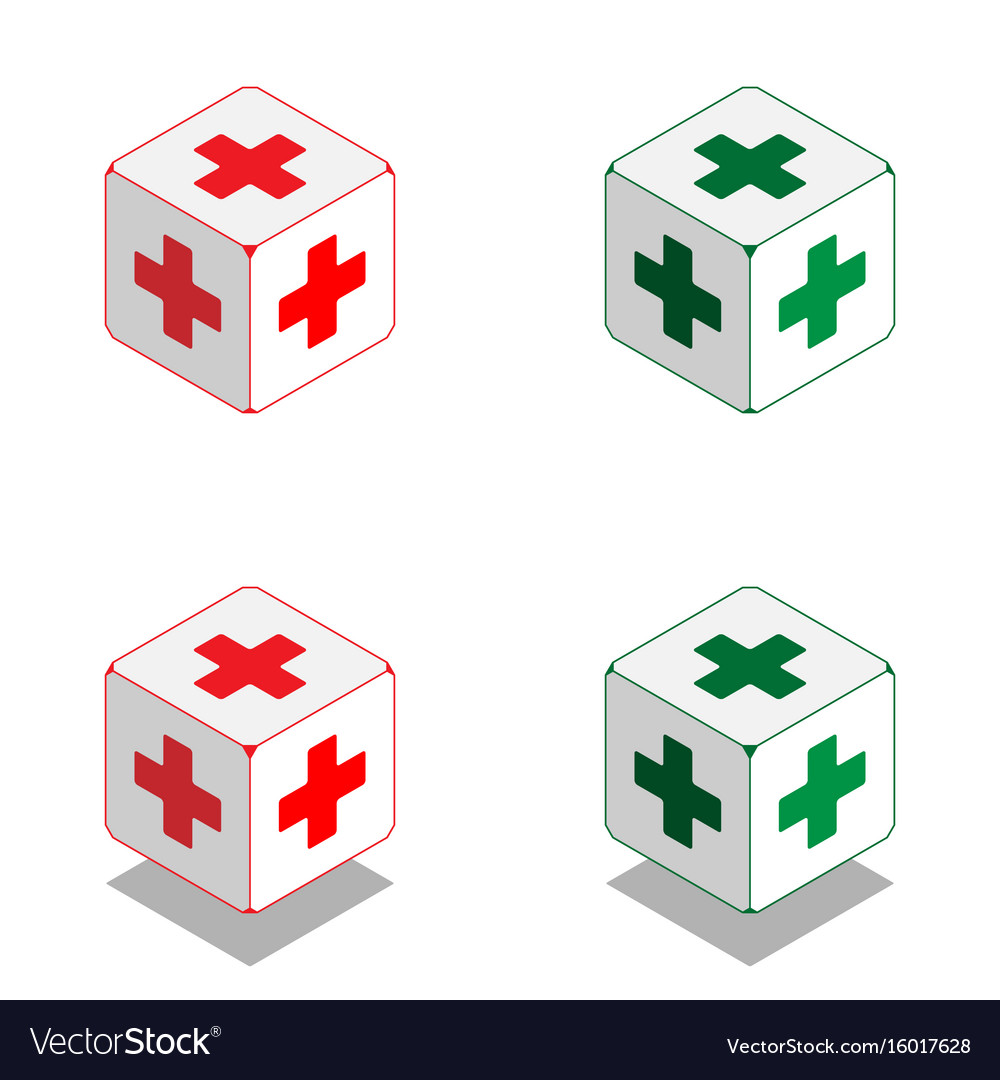 Cube with medical cross in isometric view