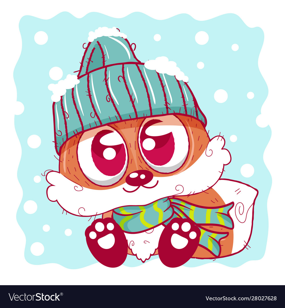Cute cartoon fox on winter can be used for