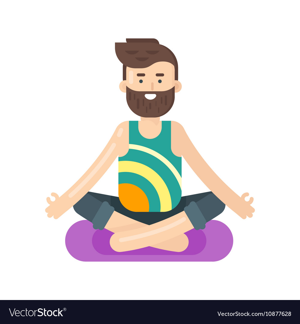 flat style of bearded man doing yoga royalty free vector rh vectorstock com yoga vector images yoga vector silhouette