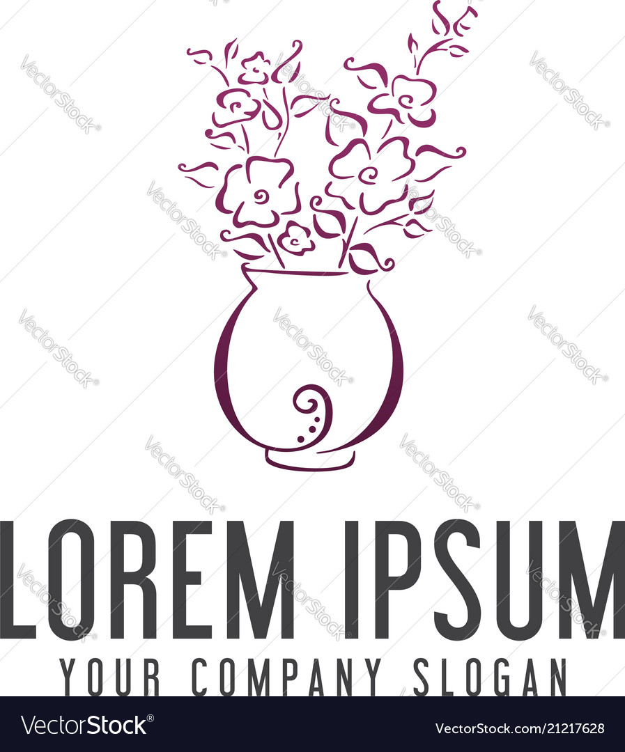 Flowers and vases logo design concept template