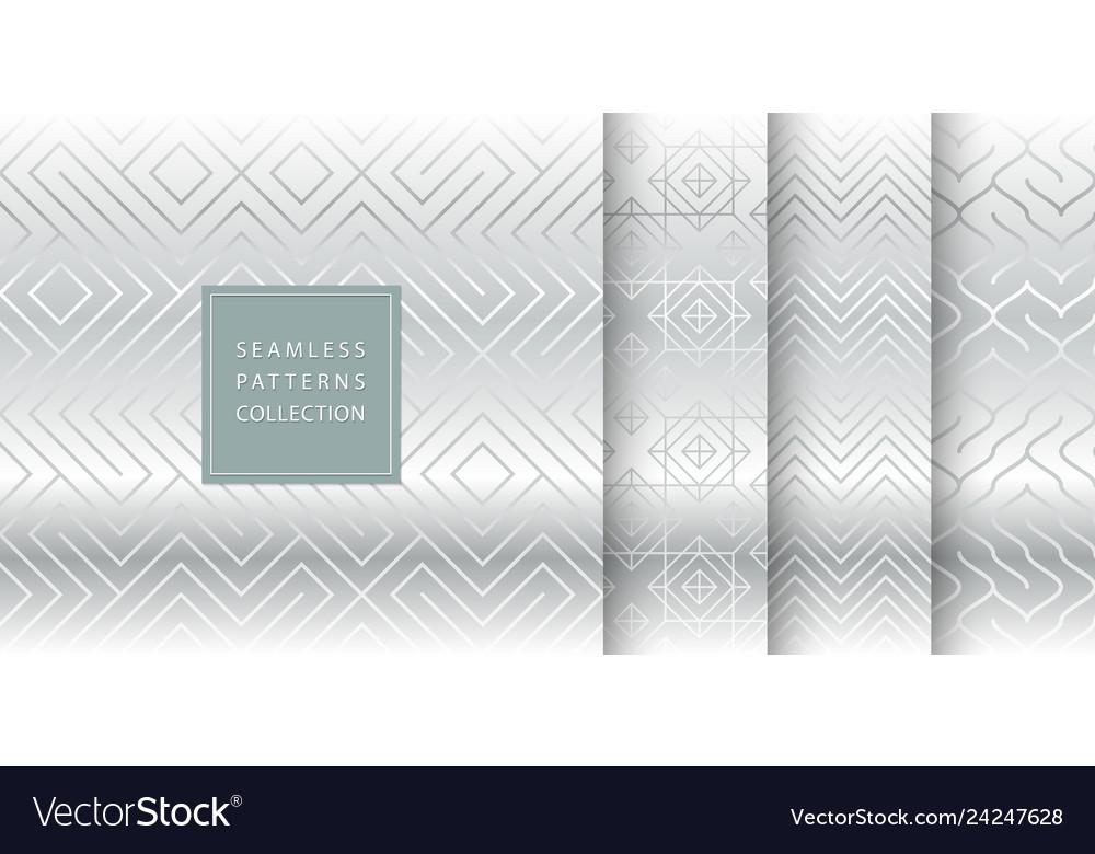 Geometric seamless silver pattern background